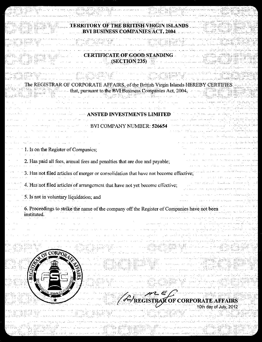 BVI Certificate of Good Standing
