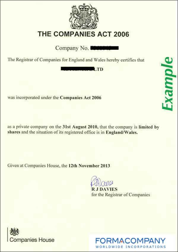 uk certificate of incorporation