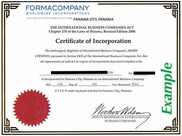 panama certificate of incorporation